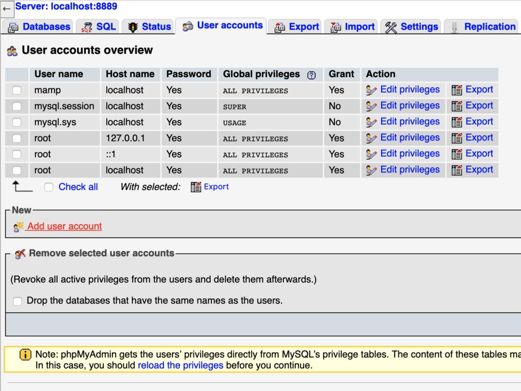La scheda Account utenti di phpMyAdmin