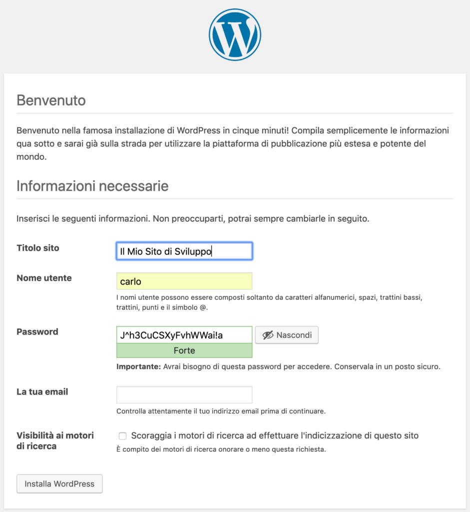 Avvio dell'installazione di WordPress