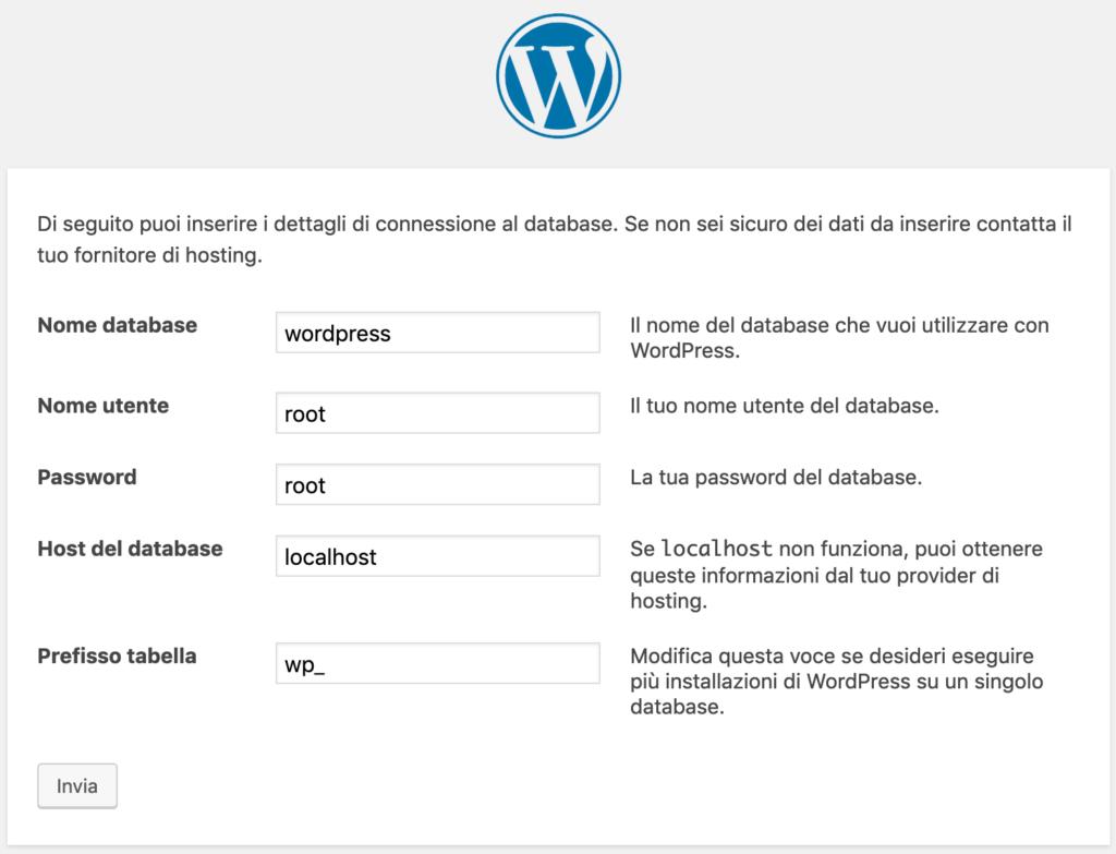 Inserimento dati di accesso al database