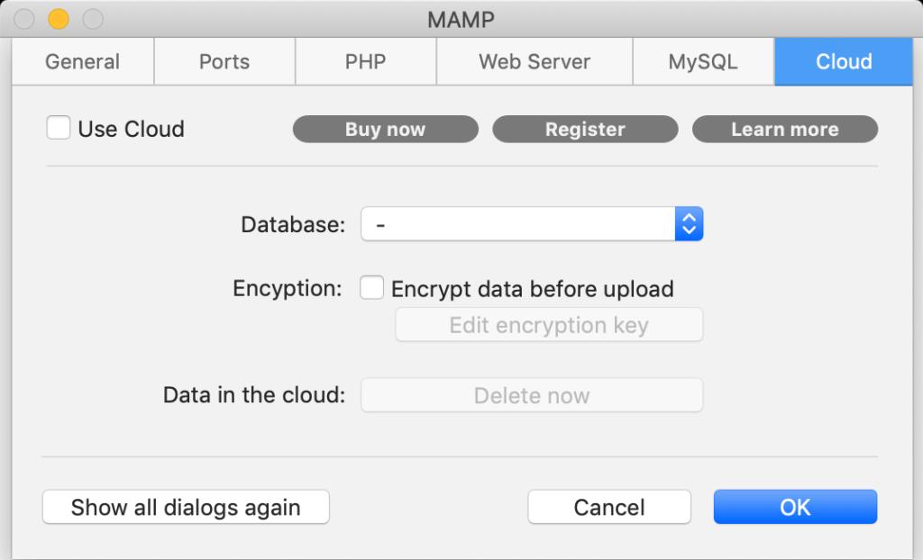 Le impostazioni Cloud di MAMP 5.2