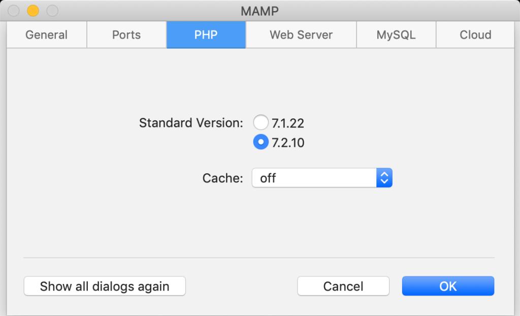 Le versioni di PHP disponibili in MAMP 5.2