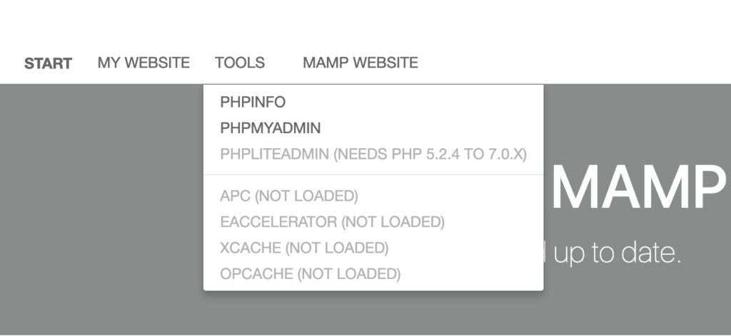 Gli strumenti di MAMP 5.2 versione gratuita