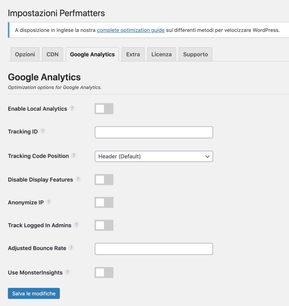 La configurazione di Google Analytics in Perfmatters