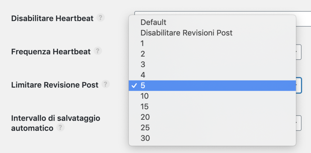 Le revisioni dei post in Perfmatters