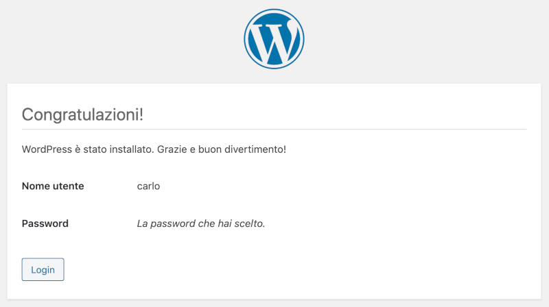 WordPress è stato installato.