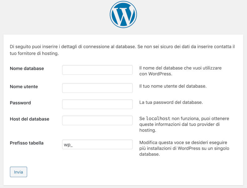 dati di connessione al database di WordPress