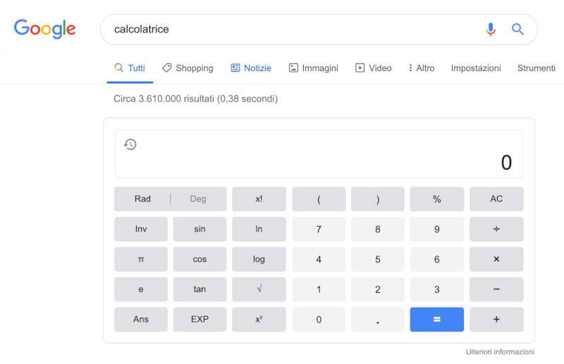 Google Search calcolatrice