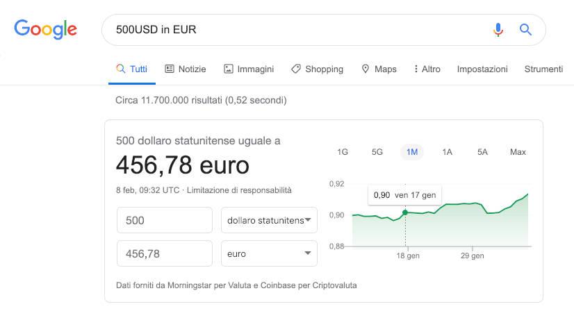 Google Search convertitore di valute