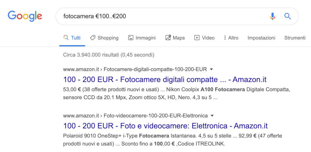 Google Search intervallo prezzi