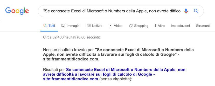 Google Search nessun risultato