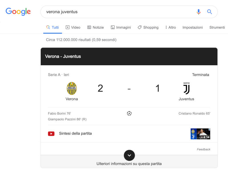google search partita serie a