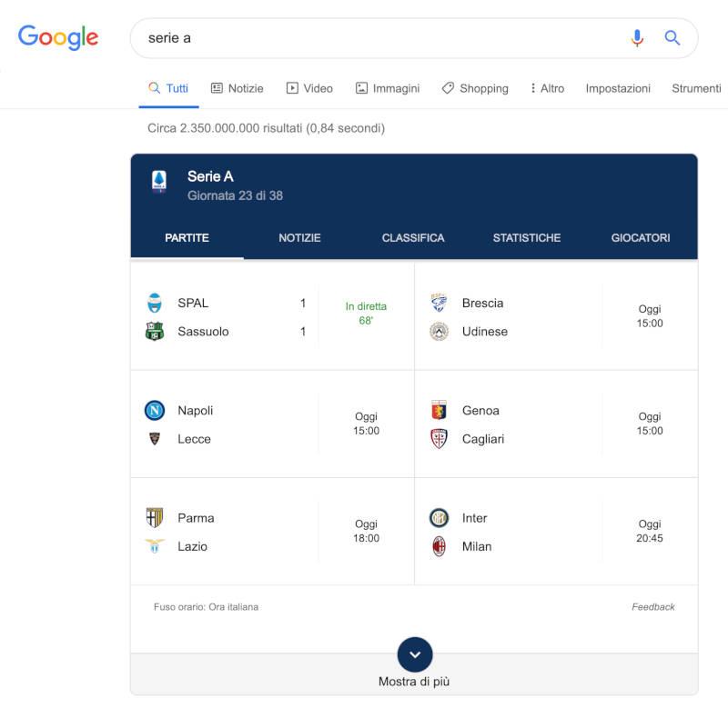 google search serie a