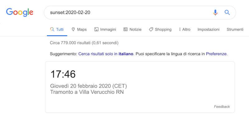 google search sunset