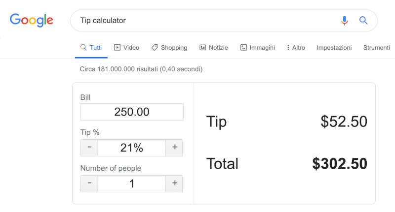 google search tip calculator