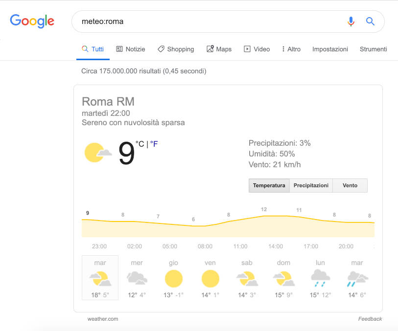 Google Search weather
