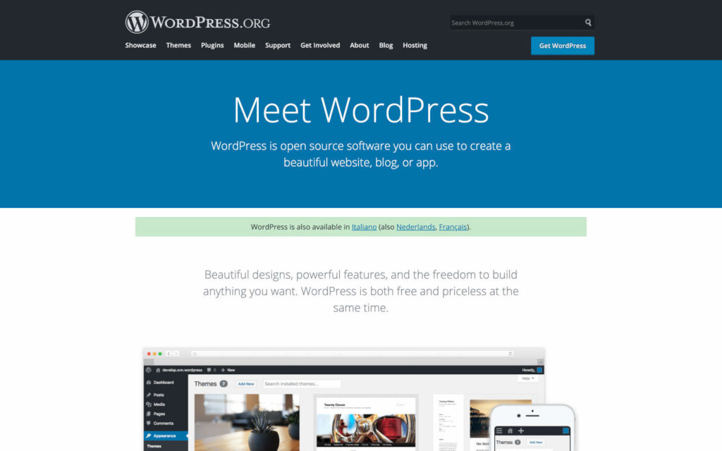 La home page di WordPress.org