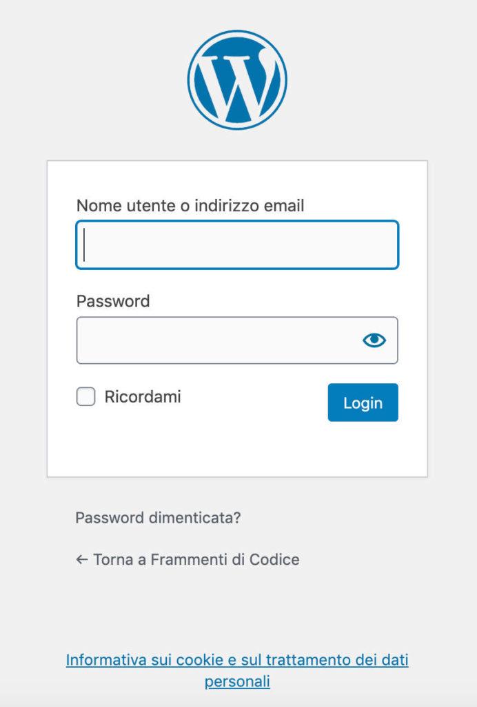 Il form di login predefinito di WordPress