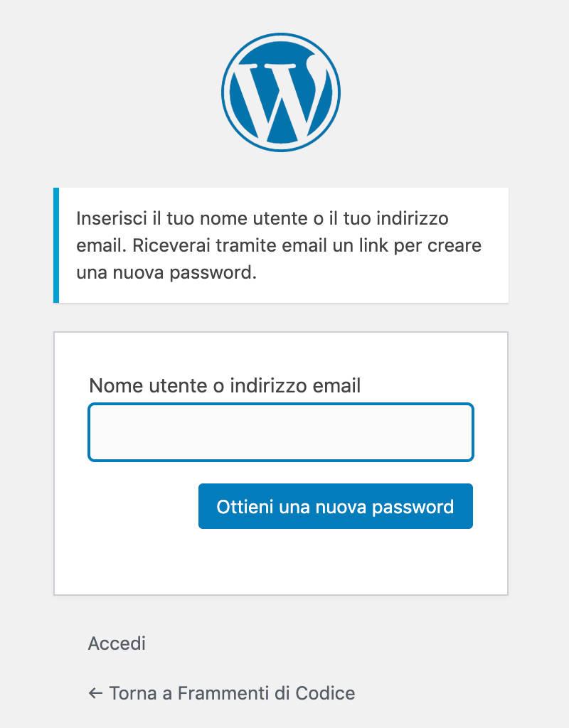 password smarrita