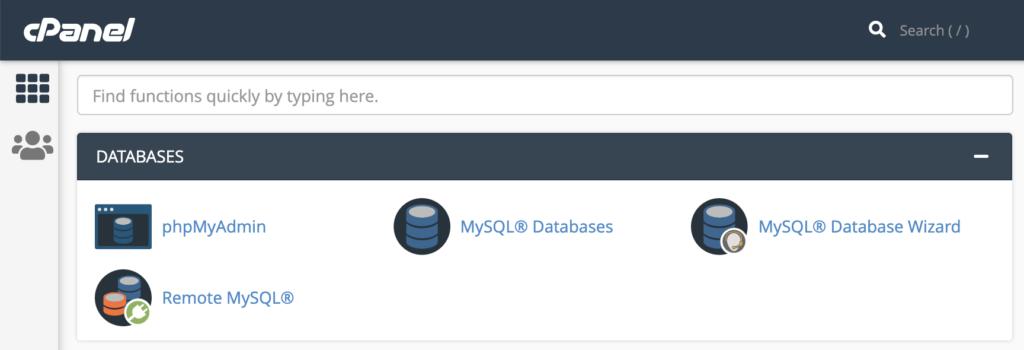 La sezione Database di cPanel