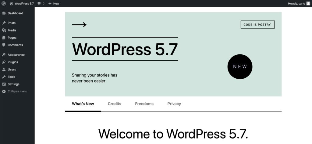 Benvenuto in WordPress 5.7