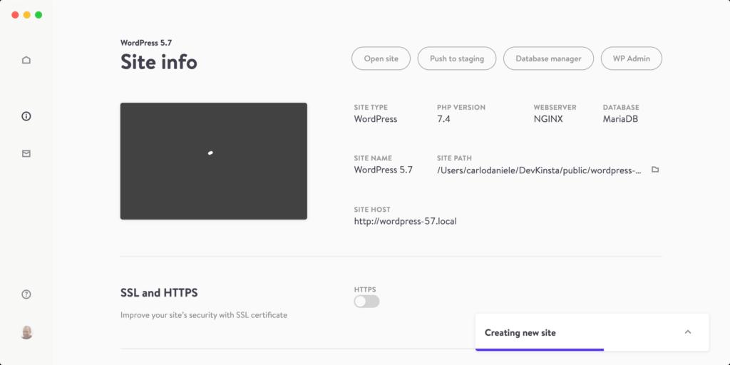 Creazione nuovo sito