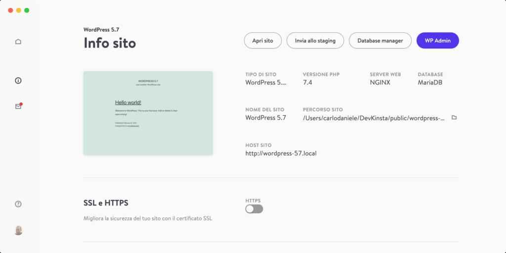 La scheda Info sito di DevKinsta
