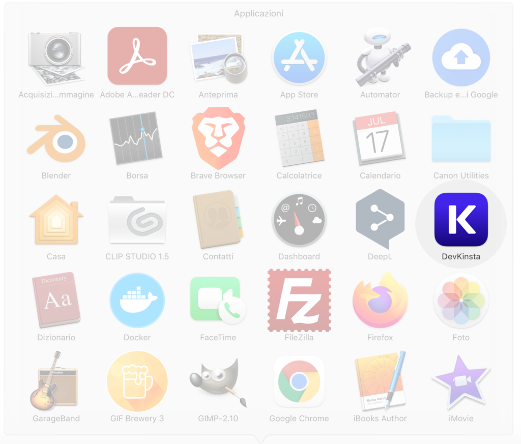 DevKinsta nelle Applicazioni di Mac OS