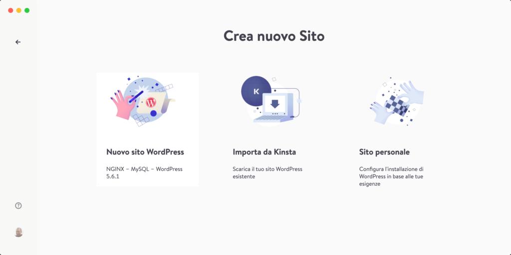 Nuovo sito WordPress in DevKinsta