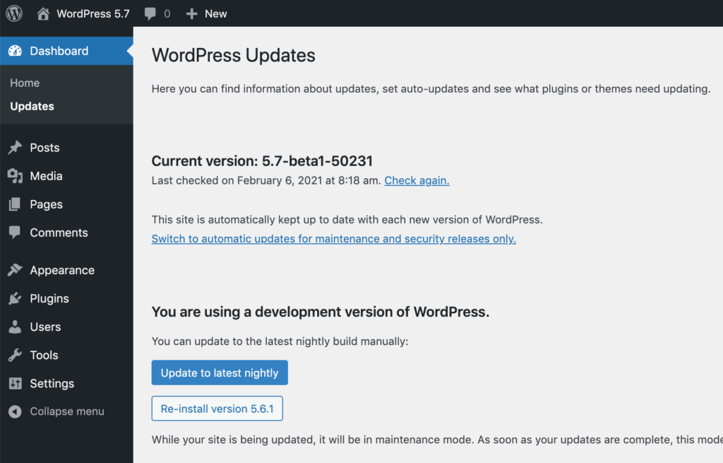 WordPress 5.7 Beta 1