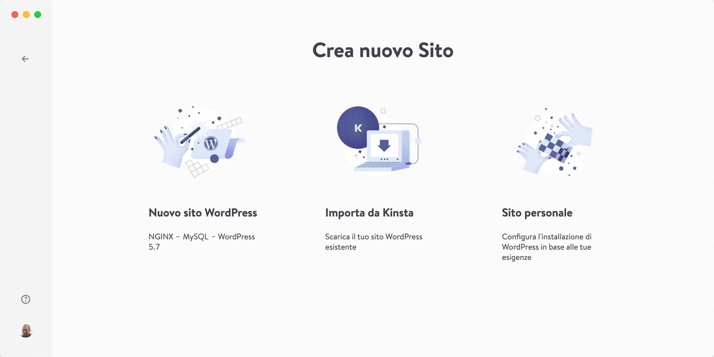 Crea nuovo sito in DevKinsta