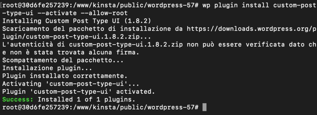 Installazione e attivazione di un plugin via WP-CLI