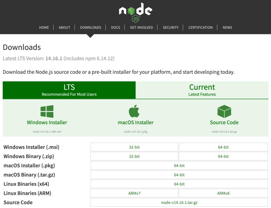 La pagina di download di Node.js
